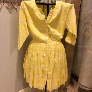 Gap yellow floral shirt dress